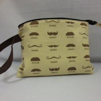 Knitting project bag, crochet WIP bag, sock project bag, Ready to Ship, Mustaches of all different types