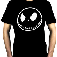 Negative Jack Skellington Face Men's T-Shirt Nightmare Before Christmas Clothing