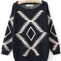Geometric Diamond Pattern  Sweater S005701