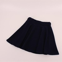 Women high waist pleated skirts 2016 new fashion Black candy color skirt S M L XL plus size