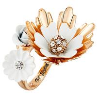 Betsey Johnson Dream of Betsey Flower Bypass Ring White - Zappos.com Free Shipping BOTH Ways