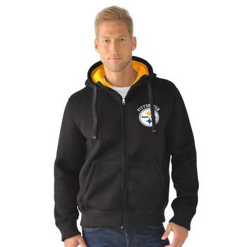 NFL Pittsburgh Steelers Full Zip Sherpa Jacket - Medium