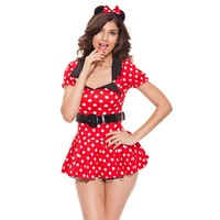 Red Minnie Mouse Dress Adult Halloween Costumes for Women Minnie Mouse Costume Cosplay Sexy Fantasy Women