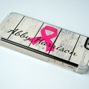 Personalized Phone Case iPhone 6 Case Rustic Wood Phone Case iPhone 5 Case iPhone 6 Monogram Phone Case Breast Cancer Awareness