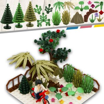City MOC Accessory Part Building Blocks Mini Tree Flower Plant Grass Friend Military Compatible LegoINGlys City Toy For Children