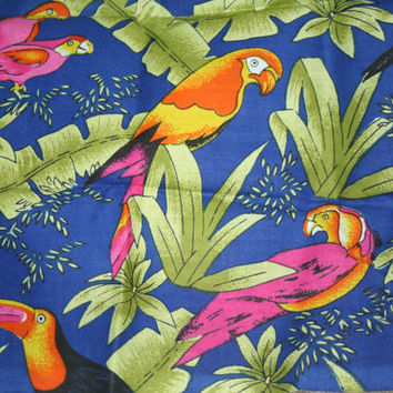Tropical Parrot Fabric 100% Cotton Fat Quarter Quilt Fabric Blue Pink Green Orange Yellow 18x 22 inches Toucan Fabric