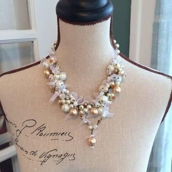 Pearl and Crystal Cluster Statement Necklace - HARLOW - OOAK Ribbon and Pearl Wedding Jewelry