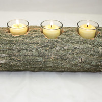 Log Candle Holder, Nature Candle Holder,  Triple Candle Holder
