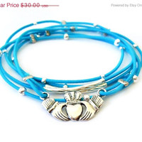 New Years Sale Claddagh Bracelet Set (Blue and Sterling Silver)