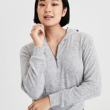 AE Soft & Sexy Plush Quarter Zip Hoodie, Gray