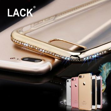 LACK Glitter Bling Diamond Crystal Rhinestone Frame transparent Clear Back Cover Case For Iphone 7 7 Plus Phone Cases Coque New
