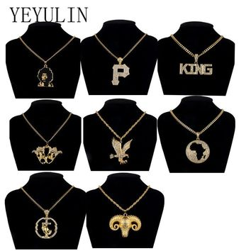 New Gold Full Rhinestone Hip Hop Man Head Letter P Eagle Necklaces Pandents Bling Cuban Chain Necklace Jewelry For Man Boy Gift