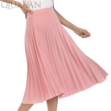 Skirts Womens Spring Autumn Fashion Women's High Waist Pleated Solid Color Elastic Long Skirt Lady Kilt Large Yards Black Pink