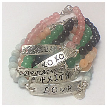 Stone and Silver Inspirational Word Bracelet w/Heart Charm