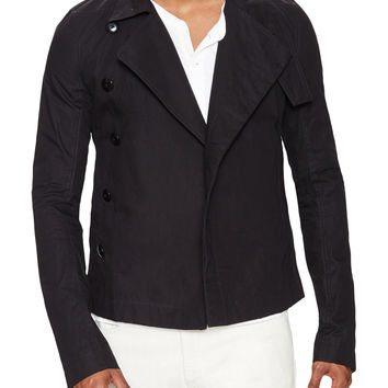 Rick Owens Men's Stand Collar Cotton Jacket - Black - Size 48