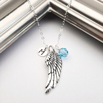 Personalized Necklace Angel Wing Necklace Mothers Necklace Mom Initial Necklace, Guardian Angel Birthstone Memory Necklace, Miscarriage.