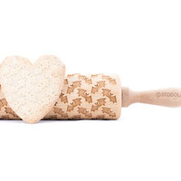 Bat - Embossed, engraved rolling pin for cookies