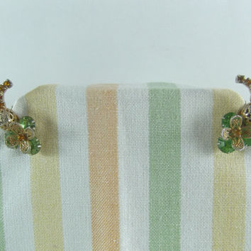 Hobe Earrings Vintage Dragon Fly Design with Faux Peridot and Citrine