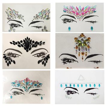 1pc Christmas DIY Eyebrow Face Body Art Adhesive Crystal Glitter Festival Party Eye Tattoo Stickers Makeup Xmas Decor