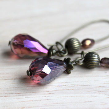 Purple Boho Crystal Earrings // beaded dangle earrings - handmade boho jewelry for her - christmas gift for her