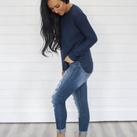 Let It Be Me Sweater - Navy