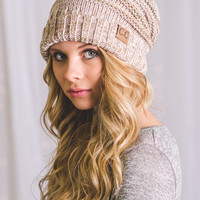 C.C. Mixed Color Slouch Beanie (Rose)