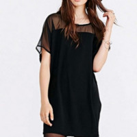 Black Mesh Panel Short Sleeve Chiffon Dress