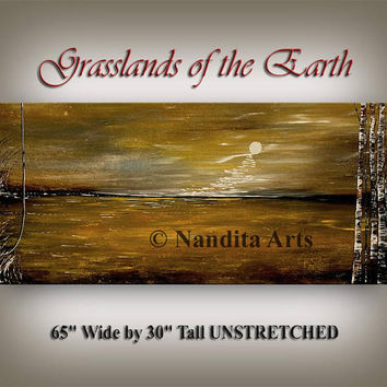 XXL Landscape Painting, Modern Original Painting UNSTRETCHED Paintings Sunset Wall Art, Landscape Scenery Contemporary Art Gallery - Nandita