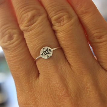 Sterling silver compass ring, graduation gift, gift for girlfriend, best friend gift, simple ring, tiny ring, stackable ring, delicate ring