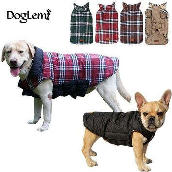 DCCKU7Q 2016 Waterproof Reversible Dog Jacket Designer Warm Plaid Winter Dog Coats Pet Clothes Elastic Small to Large Dog Clothes Winter