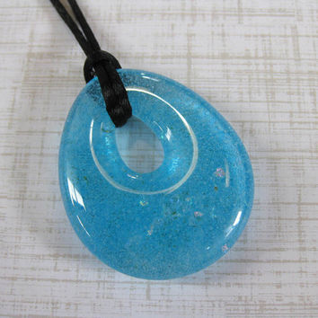 Turquoise Blue Necklace, Fashion Necklace, Glass Donut, Turquoise Blue Jewelry - Lagoon - 4219 -3