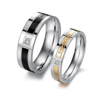 High quality Lover's Rings jewelled exquisite gift shining crystal titanium stainless steel rings Endless Love jewelry couples rings #625