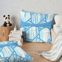 'Abstract Blue Mosaic Design' Throw Pillow by oursunnycdays
