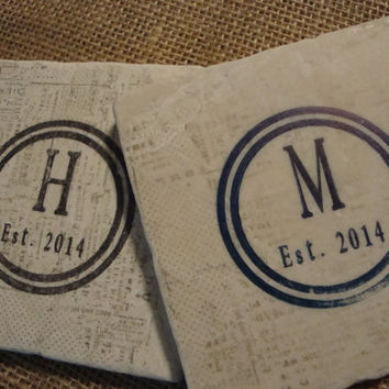 Monogram Personalized Coaster with Newspaper Background Family Reunion Wedding Party Favors Stone Tile Home Decor Plaque Gifts