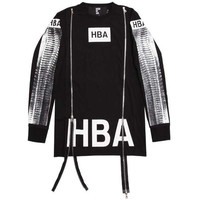 BLACK PRINTED DOUBLE ZIP T-SHIRT BY HOOD BY AIR AUTHENTIC - A Very Based You