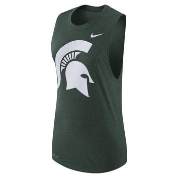 Women's Nike Green Michigan State Spartans Logo Performance Muscle Tank Top