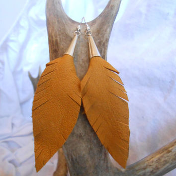 Handmade Leather Feather Earrings, Handcut from Gold Deer Hide, Native American Inspired, OOAK, Boho, Hippie, Southwestern
