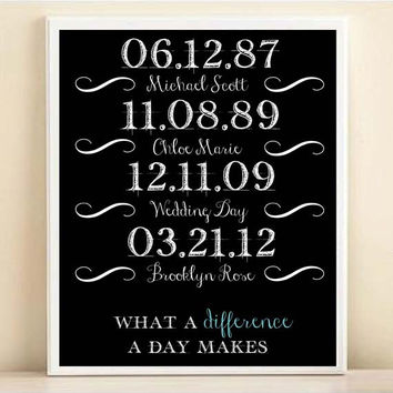 What A Difference A Day Makes Personalized Special Dates Art Print: Custom Birthday, Engagement, Wedding Date Poster in Black & White