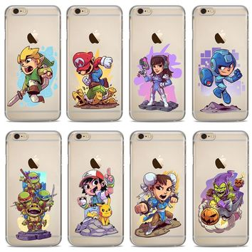 Cute Cartoon Ninja Turtles Marios Zelda Funny Comics Soft TPU Cover Case For iPhone X 8 8Plus 7 7 Plus 6 6S Plus 5 5S SE Cases