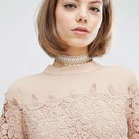 Rock N Rose Charlotte Lace Drop Choker at asos.com