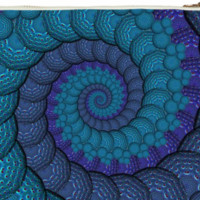 Blue Fractal Spiral Clutch Bag created by HippyGiftShop | Print All Over Me