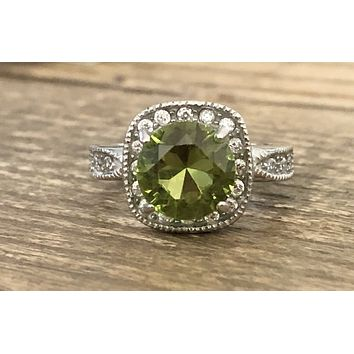 SALE A Vintage 2.5CT Round Cut Green Peridot & Russian Lab Diamond Halo Ring