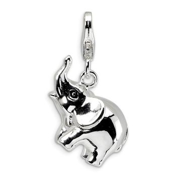 Sterling Silver 3-D Enameled Elephant w/Lobster Clasp Charm