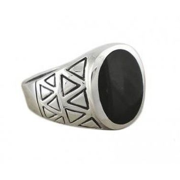 925 Sterling Silver Mens Genuine Black Onyx Exotic Aztec Thick Ring