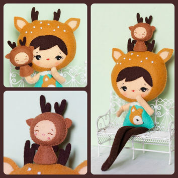 PDF. Deer girl with puppet .Plush Doll Pattern, Softie Pattern, Soft felt Toy Pattern.