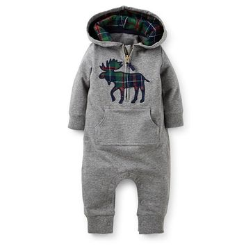 Newborn Baby Rompers Long Sleeve & Hats Winter Boy Girls Romper Exclusive Deers Clothing Cotton Character Thicken Rompers CL0611