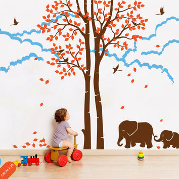Huge Tree Autumn Tree Falling Leaves With Cute Family Elephants And Cloud  Mural Kids Baby Bedroom Decor Vinyl Popular DecalT-17