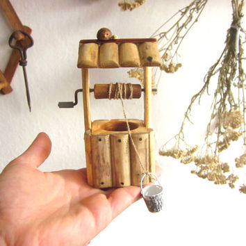 Miniature draw well, wooden toy, fairy house plaything, farmhouse, for kids, children's wood toy