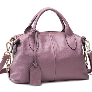 Medium Size Modern Causal Chic Dusty Pink Leather Tote. Ladies Genuine Leather Handbag. Pastel Leather Purse. Travel Bag