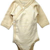 Long Sleeve Kimono Bodysuit - Brown Stripes